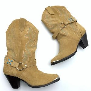 DINGO WESTERN BOOTIES silver turquoise stud size 7